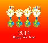 Happy new year 2014 colorful painti