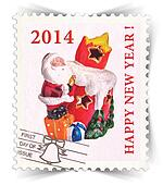 Label for seasonal ads or new year greeting cards stylized as post stamp