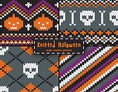 Set of seamless Halloween  patterns.