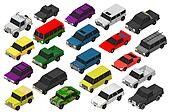 Set of Various Isolated 3d Cars
