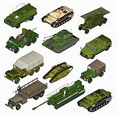 Set of Military vehicles. 3d