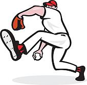 Baseball Pitcher Throwing Ball Cartoon