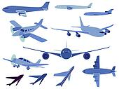 Set of simple symbols of aircrafts.