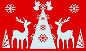 Christmas tree, angels, reindeer. Red background.