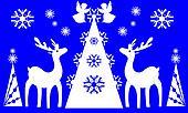 Christmas tree, angels, reindeer.