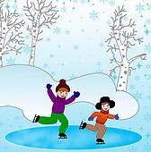 children skate in a winter day