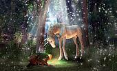 Magical Unicorn and Girl