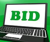 Bid On Laptop Shows Bidder Bidding Or Auction Online