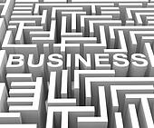 Business Word In Maze Shows Finding Commerce