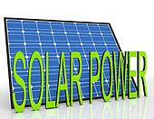 Solar Panel And Power Word Shows Sustainable Energies