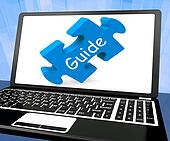 Guide Laptop Shows Assistance Instructions Or Guidance