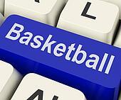 Basketball Key Shows Basket Ball On Internet Or Web