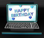 Happy Birthday Greeting On Computer Shows Internet Celebration