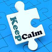 Keep Calm Puzzle Shows Calming Relax And Composed