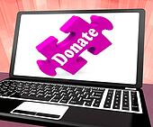 Donate Laptop Shows Charity Donating Donations And Fundraising
