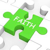 Faith Jigsaw Showing Spiritual Belief Or Trust