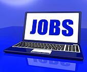 Jobs On Laptop Shows Recruitment Employment Or Hiring Online