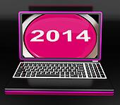 Two Thousand And Fourteen On Laptop Shows New Year 2014