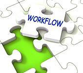 Workflow Puzzle Shows Structure Process Flow Or Procedure