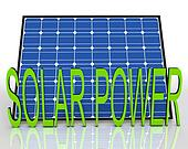 Solar Panel And Power Word Shows Energies Source
