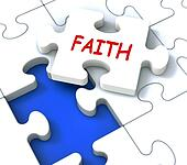Faith Jigsaw Showing Religious Spiritual Belief Or Trust