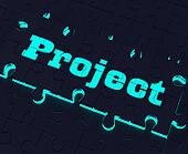 Project Puzzle Shows Planning Plan Mission Or Task