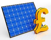 Solar Panel And Pound Sign Shows Saving Money
