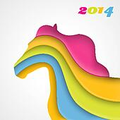 Colorful paper horse. Christmas and New Year card. Vector