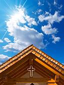 Roof of Wooden Church with Cross