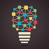 connecting node make colorful bulb