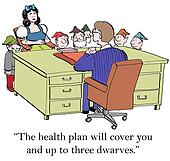 Snow White is concerned about health coverage for the dwarves