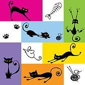 Six funny black cats