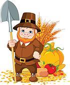Cute pilgrim with spade