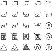 Laundry icons on white background