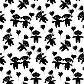 Children, seamless, silhouette