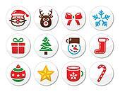 Christmas, santa vector icons set