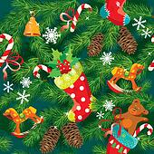 X-mas and New Year background with Christmas accessories, stocki
