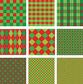 Set of Christmas and New Year plaid seamless patterns in red and