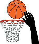vector symbol of shot of basketball ball through a hoop