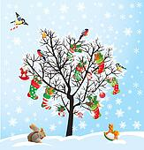 Winter tree with birds, squirrel, Xmas shoes, candies and presen