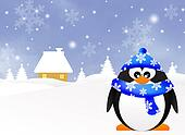 Penguin in winter