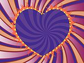 Purple rays background with heart