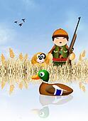 hunter hunting ducks