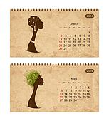 Calendar 2014 with female profile on grunge paper. March and april