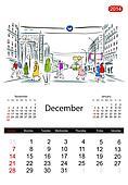 Calendar 2014, december. Streets of the city, sketch for your design