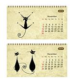 Calendar 2014 with black cats on grunge paper. November and december