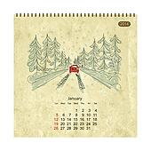 Calendar 2014, january. Streets of the city, sketch for your design