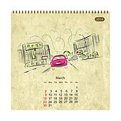 Calendar 2014, march. Streets of the city, sketch for your design