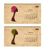 Calendar 2014 with female profile on grunge paper. January and february