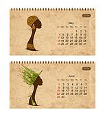 Calendar 2014 with female profile on grunge paper. May and june